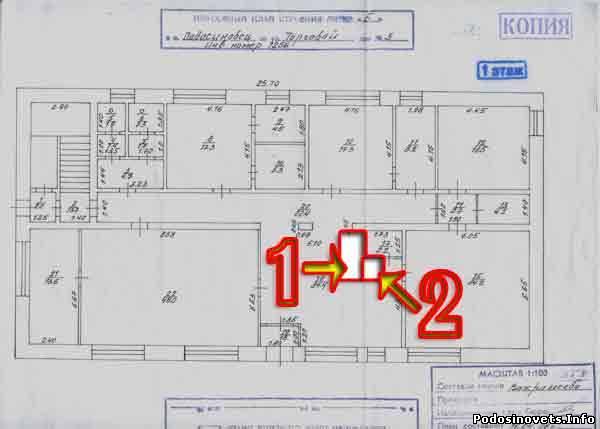 план 1 этажа здания Б Подосиновского дома быта