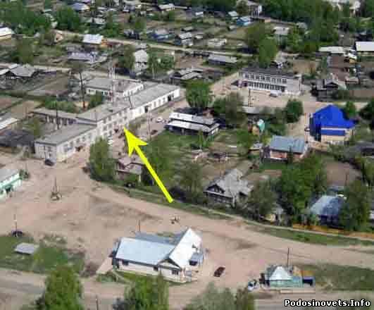 Центр пгт.Подосиновец (вид сверху) по стрелочке - Подосиновский Дом быта